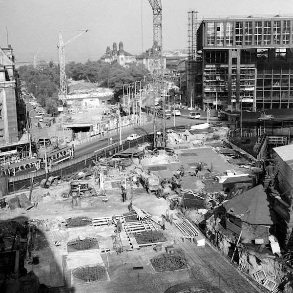 Výstavba metra u Muzea (1971)